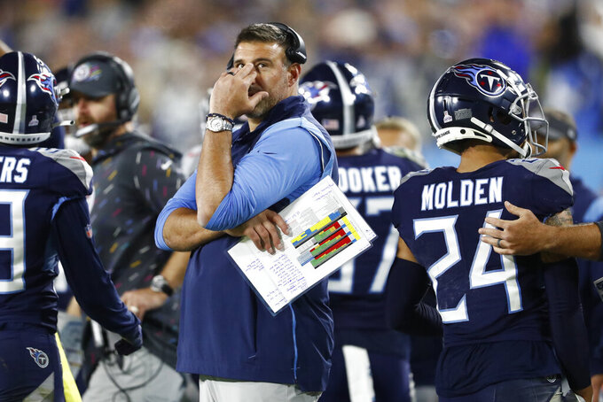 Tennessee Titans head coach Mike Vrabel watches from the sideline in the second half of an NFL football game against the Buffalo Bills Monday, Oct. 18, 2021, in Nashville, Tenn. (AP Photo/Wade Payne)