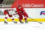 Carolina Hurricanes left wing Jordan Martinook (48) pokes the puck from Detroit Red Wings center Vladislav Namestnikov (92) in the second period of an NHL hockey game Saturday, Jan. 16, 2021, in Detroit. (AP Photo/Paul Sancya)