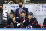 FILE - In this Wednesday, March 17, 2021 file photo, New York Rangers Associate General Manager Chris Drury works the bench during an NHL hockey game against the Philadelphia Flyers in New York. The New York Rangers abruptly fired president John Davidson and general manager Jeff Gorton on Wednesday, May 5, 2021 with three games left in the season. Chris Drury was named president and GM. He previously served as associate GM under Davidson and Gorton. (Bruce Bennett/Pool Photo via AP, File)