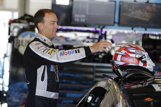 Monster Energy NASCAR Cup Series driver Kevin Harvick prepares to drive during practice for the NASCAR Brickyard 400 auto race at the Indianapolis Motor Speedway, Saturday, Sept. 7, 2019 in Indianapolis. (AP Photo/Darron Cummings)