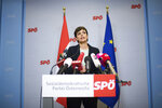 The leader of the parliamentary group Pamela Rendi-Wagner (Austrian Social Democratic Party) adresses the media during an press conference at the Headquarter of the Austrian Social Democratic Party in Vienna, Austria, Saturday, May 18, 2019. Austrian Chancellor Sebastian Kurz has called for an early election after the resignation of his vice chancellor spelled an end to his governing coalition. (AP Photo/Michael Gruber)