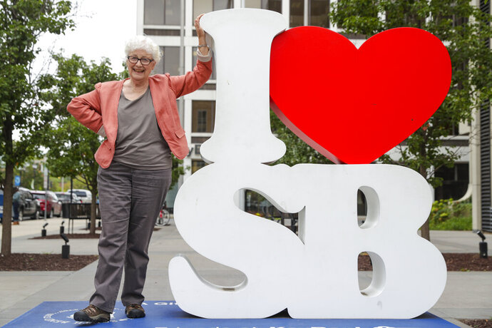 Anne Montgomery, mother of Democratic presidential candidate South Bend Mayor Pete Buttigieg, poses on an