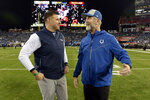 Tennessee Titans head coach Mike Vrabel, left, talks with Indianapolis Colts head coach Frank Reich before an NFL football game Sunday, Dec. 30, 2018, in Nashville, Tenn. (AP Photo/Mark Zaleski)