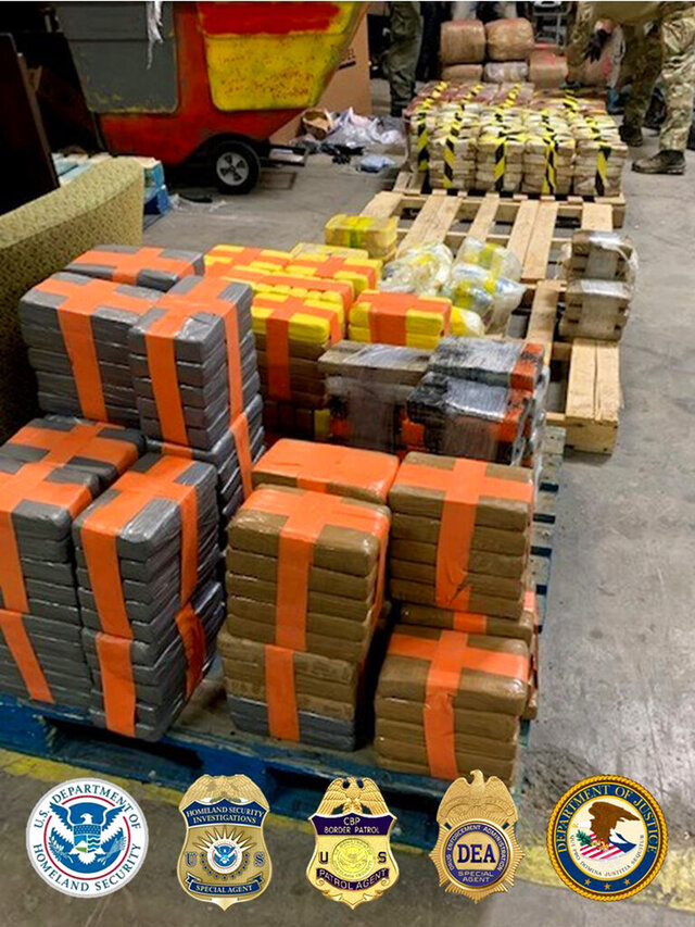 In this photo released Tuesday, March 31, 2020, by the San Diego Tunnel Task Force, Department of Homeland Security, a large haul of drugs that were seized in a cross-border tunnel running from warehouses in Tijuana, Mexico to San Diego are displayed in San Diego.  (San Diego Tunnel Task Force/Department of Homeland Security via AP)