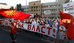 People wave the old national flags and carry banners with patriotic slogans protesting the change of the country's name to North Macedonia and