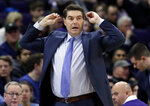 Columbia head coach Jim Engles reacts as he watches his team during the second half of an NCAA college basketball game against Northwestern, Sunday, Dec. 30, 2018, in Evanston, Ill. (AP Photo/Nam Y. Huh)
