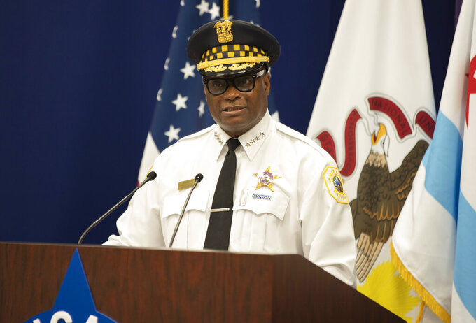 Chicago Police Supt. David Brown speaks about creating a new Chicago Police Department team of about 50 police officers and prosecutors to target gun traffickers Monday, July 19, 2021, in Chicago. (Brian Rich/Chicago Sun-Times via AP)