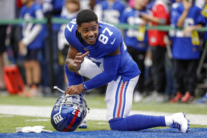FILE - In this Oct. 6, 2019, file photo, New York Giants wide receiver Sterling Shepard warms up before an NFL football game against the Minnesota Vikings in East Rutherford, N.J. The Giants have placed Shepard back in the concussion protocol, ruling him out of their game against Dallas on Monday, Nov. 4, 2019. (AP Photo/Adam Hunger, File)