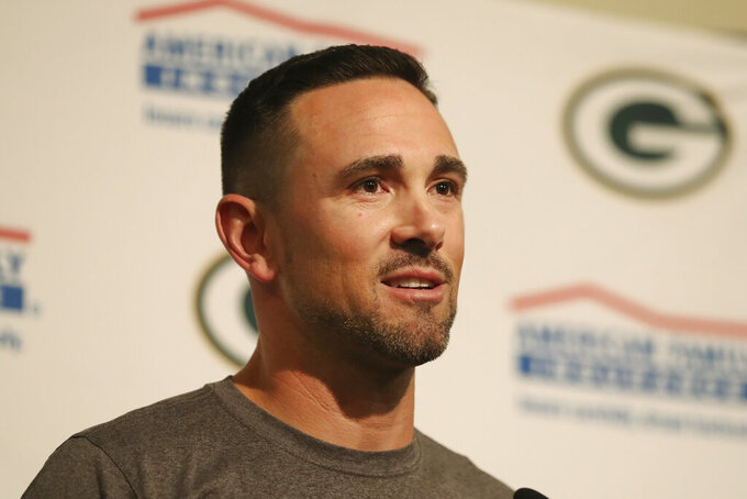 Green Bay Packers head coach Matt LaFleur speaks at a news conference after the Packers defeated the San Francisco 49ers in an NFL football game in Santa Clara, Calif., Sunday, Sept. 26, 2021. (AP Photo/Jed Jacobsohn)