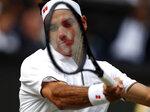 Switzerland's Roger Federer returns the ball to Serbia's Novak Djokovicduring the men's singles final match of the Wimbledon Tennis Championships in London, Sunday, July 14, 2019. (Adrian Dennis/Pool Photo via AP)