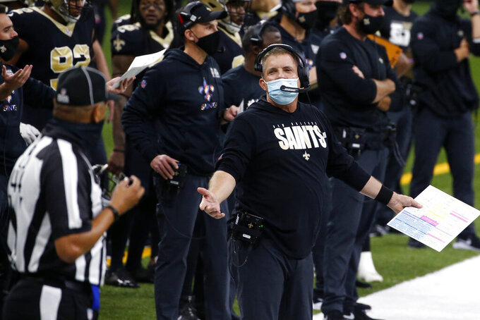 New Orleans Saints head coach Sean Payton reacts on the sideline in the first half of an NFL football game against the Los Angeles Chargers in New Orleans, Monday, Oct. 12, 2020. (AP Photo/Butch Dill)