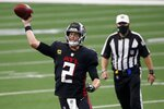 Atlanta Falcons quarterback Matt Ryan (2) throws a pass in the second half of an NFL football game against the Dallas Cowboys in Arlington, Texas, Sunday, Sept. 20, 2020. (AP Photo/Ron Jenkins)