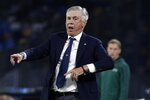 Napoli's head coach Carlo Ancelotti reacts during the Champions League Group E soccer match between Napoli and Liverpool, at the San Paolo stadium in Naples, Italy, Tuesday, Sept. 17, 2019. (AP Photo/Gregorio Borgia)
