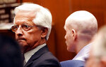 Michael Gargiulo, right, listens to his sentencing as his attorney Daniel Nardoni, left, looks on as the death penalty is announced during Gargiulo's trial in Los Angeles Superior Court for the killings of two women and the attempted murder of a third, on Friday, Oct. 18, 2019. (Mario Tama/EPA  via AP, Pool)