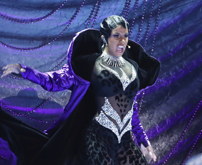 FILE - In this Sunday, Feb. 10, 2019, file photo, Cardi B performs
