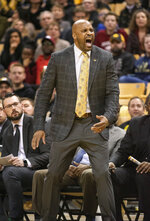 Missouri head coach Cuonzo Martin shouts instructions to his team during the first half of an NCAA college basketball game against Arkansas Tuesday, Feb. 12, 2019, in Columbia, Mo. Missouri won the game 79-78.(AP Photo/L.G. Patterson)