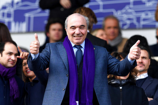 Fiorentina president Rocco Commisso gestures prior to an Italian Cup eightfinal soccer match, between Fiorentina and Atalanta at the Artemio Franchi stadium in Florence, Italy, Wednesday, Jan. 15, 2020. ( Jennifer Lorenzini/LaPresse via AP)
