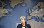 Britain's Prime Minister Theresa May speaks at Chatham House in London, Wednesday July 17, 2019. Prime Minister Theresa May says she worries about the increasing