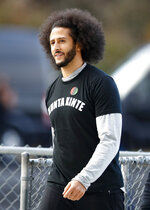 Free agent quarterback Colin Kaepernick arrives for a workout for NFL football scouts and media, Saturday, Nov. 16, 2019, in Riverdale, Ga. (AP Photo/Todd Kirkland)