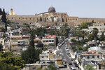 A general view of the Palestinian neighborhood of Silwan in east Jerusalem below the al-Aqsa mosque compound, seen on Wednesday, July 1, 2020. Israeli leaders paint Jerusalem as a model of coexistence, the