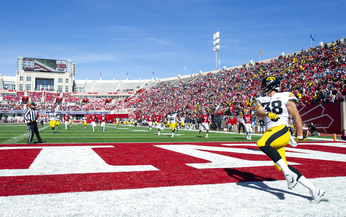 Iowa tight end T.J. Hockenson (38) reacts in the end zone after scoring a touchdown in the second half of an NCAA college football game Saturday, Oct. 13, 2018, in Bloomington, Ind. Iowa won 42-16. (AP Photo/Doug McSchooler)