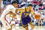 LSU guard Skylar Mays (4) works against Alabama guard James Bolden (11) during the first half of an NCAA college basketball game, Saturday, Feb. 15, 2020, in Tuscaloosa, Ala. (AP Photo/Vasha Hunt)