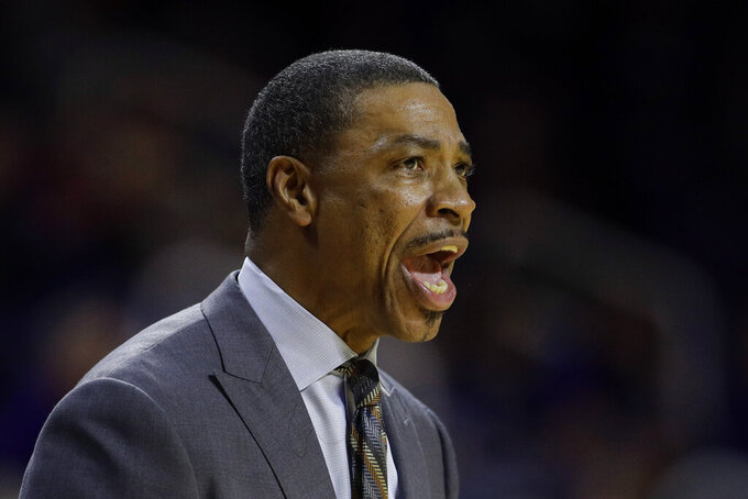 Alabama State head coach Lewis Jackson talks to his players during the first half of an NCAA college basketball game against Kansas State Wednesday, Dec. 11, 2019, in Manhattan, Kan. (AP Photo/Charlie Riedel)