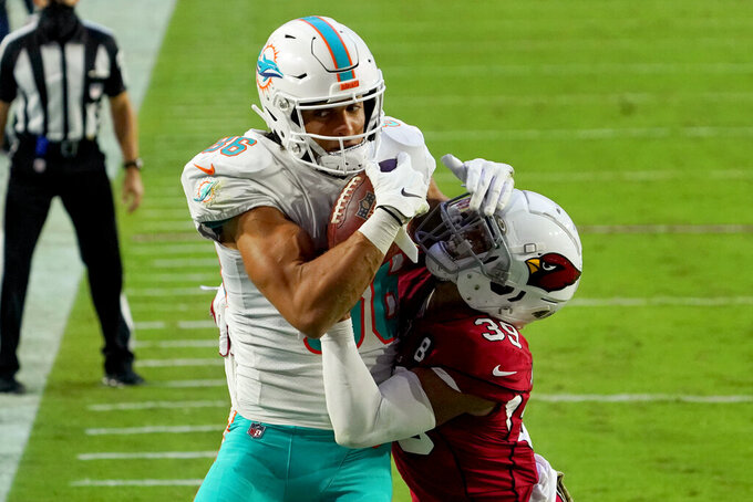 Miami Dolphins wide receiver Mack Hollins pulls in a touchdown pass as Arizona Cardinals cornerback Jace Whittaker, right, defends during the second half of an NFL football game, Sunday, Nov. 8, 2020, in Glendale, Ariz. (AP Photo/Rick Scuteri)