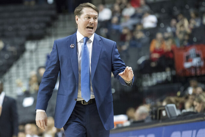 Saint Louis head coach Travis Ford reacts during the first half of an NCAA college basketball game against the Dayton in the Atlantic 10 Conference tournament, Friday, March 15, 2019, in New York. (AP Photo/Mary Altaffer)