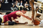 Boston College guard Chris Herren (4) dives after a loose ball during an NCAA college basketball game against Wake Forest, Saturday, Jan. 26, 2019 in Winston-Salem, N.C. (Andrew Dye/The Winston-Salem Journal via AP)