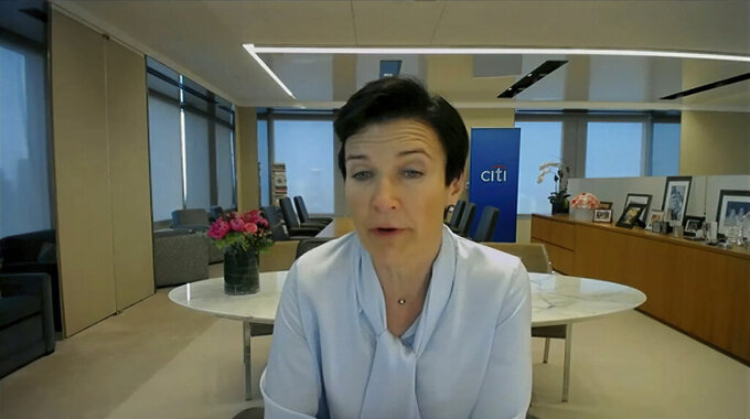 This image from video provided by the Senate Banking Committee shows Citigroup CEO Jane Fraser testifying virtually to the Senate Banking Committee Wednesday, May 26, 2021. (Senate Banking Committee via AP)