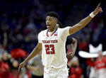 Texas Tech's Jarrett Culver celebrates after a basket during the second half of a first round men's college basketball game against Northern Kentucky in the NCAA Tournament Friday, March 22, 2019, in Tulsa, Okla. Texas Tech won 72-57. (AP Photo/Charlie Riedel)