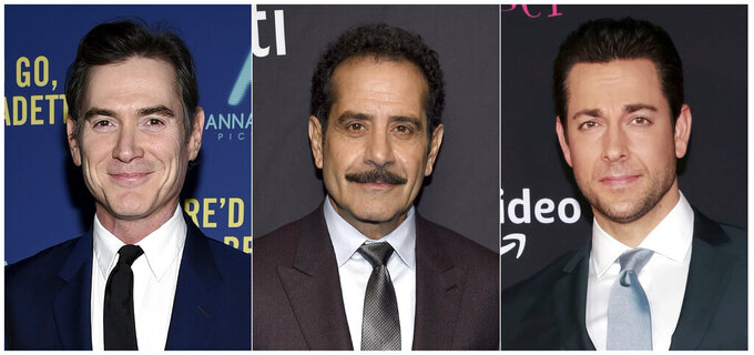 "This combination photo shows actors, from left, Billy Crudup, Tony Shalhoub and Zachary Levi who will participate in a reading of Don DeLillo's ""Pafko at the Wall,"" a  fictionalization of the 1951 playoff game between the Brooklyn Dodgers and the New York Giants. The reading will take place Oct. 3 at Manhattan's 92nd Street Y. (AP Photo)"