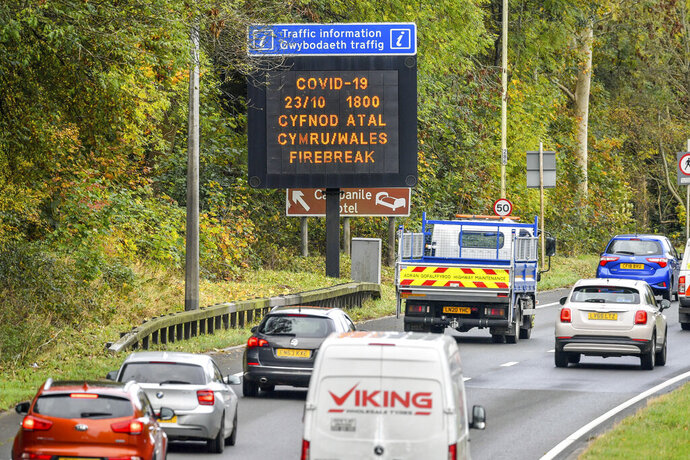 A matrix sign on the A48(M) heading towards Cardiff informing motorists to Wales entering a