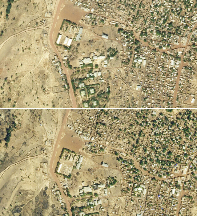 This satellite photo combo provided Sunday Jan. 17, 2021 by Planet Labs, Inc. shows the destruction of U.N. World Food Program warehouses at the Shimelba refugee camp in Ethiopia's Tigray region on Jan. 5, 2021, bottom center left, and before it was destroyed on Dec. 10, 2020, top. Starvation threatens the survivors of fighting in Tigray, and authorities say more than 4.5 million people need emergency food. Food supplies have been a target in the conflict, experts say. (2021 Planet Labs, Inc via AP)