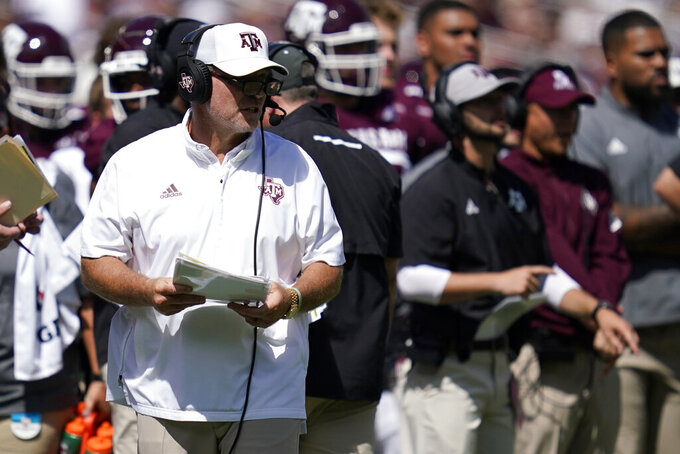 Texas A&M head coach Jimbo Fisher looks during the first half of an NCAA college football game against New Mexico, Saturday, Sept. 18, 2021, in College Station, Texas. (AP Photo/Sam Craft)