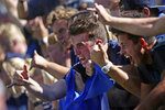 BYU fans celebrate a touchdown against Southern California during the first half of an NCAA college football game, Saturday, Sept. 14, 2019, in Provo, Utah. (AP Photo/George Frey)