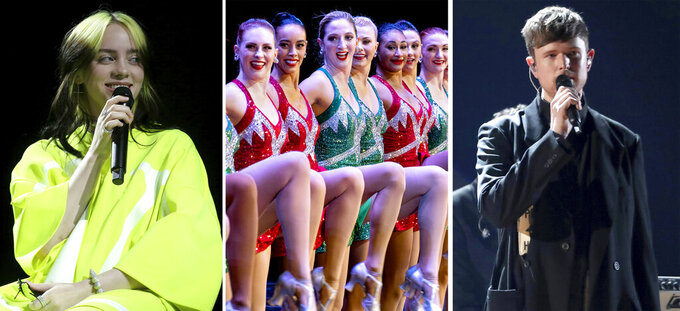 """In this combination photo, Billie Eilish, from left, performs at Spotify Best New Artist Party on Jan. 23, 2020, in West Hollywood, Calif., the Rockettes perform during the Christmas Spectacular on Nov. 25, 2019, in New York and James Blake performs at the 61st annual Grammy Awards on Feb. 10, 2019, in Los Angeles. Eilish's concert film """"Happier Than Ever: A Love Letter to Los Angeles"""" will premiere on the Apple TV+ streaming service globally Sept. 3, 2021. Madison Square Garden Entertainment Corp. said Thursday, July 22, 2021, the """"The Christmas Spectacular"""" — starring the Rockettes precision-dance team, will be back this holiday season with performances at Radio City Music Hall from Nov. 5, 2021 to Jan. 2, 2022.And Blake has announced his first new full-length album in three years, """"Friends That Break Your Heart"""", due Sept. 10, 2021, and a tour this fall. (AP Photo)"""