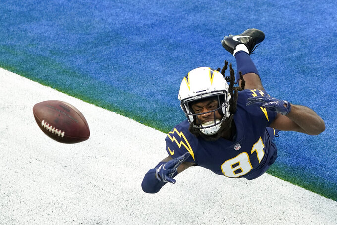 Los Angeles Chargers wide receiver Mike Williams unsuccessfully tries to make a catch in the end zone during the second half of an NFL football game against the Las Vegas Raiders, Sunday, Nov. 8, 2020, in Inglewood, Calif. (AP Photo/Ashley Landis)