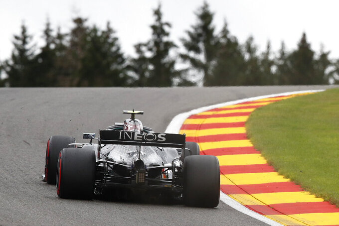 Mercedes driver Valtteri Bottas of Finland steers his car during the first practice session prior to the Formula One Grand Prix at the Spa-Francorchamps racetrack in Spa, Belgium Friday, Aug. 28, 2020. (Francois Renoir, Pool via AP)