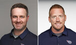 FILE - From left, in these Aug. 25, 2020, file photos, Shane Bowen and Todd Downing of the Tennessee Titans NFL football team are shown. Tennessee Titans coach Mike Vrabel announced promoting from within, Friday, Jan. 29, 2021. Todd Downing to offensive coordinator and Shane Bowen to defensive coordinator. (AP Photo/File.