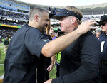 Baylor head coach Matt Rhule, left, and TCU head coach Gary Patterson, right, greet each other after an NCAA college football game, Saturday, Nov. 17, 2018, in Waco, Texas. (Jerry Larson/Waco Tribune-Herald via AP)