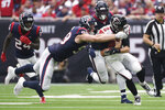Atlanta Falcons quarterback Matt Ryan (2) is hit by Houston Texans defensive end J.J. Watt (99) during the first half of an NFL football game Sunday, Oct. 6, 2019, in Houston. (AP Photo/Eric Christian Smith)