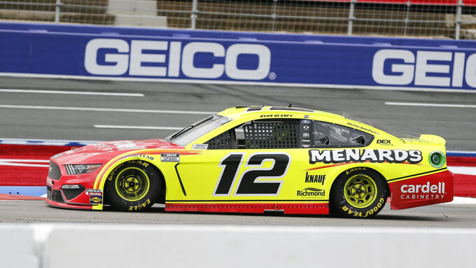 Ryan Blaney (12) competes in a NASCAR Cup Series auto race at Charlotte Motor Speedway in Concord, N.C., Sunday, Oct. 11, 2020. (AP Photo/Nell Redmond)