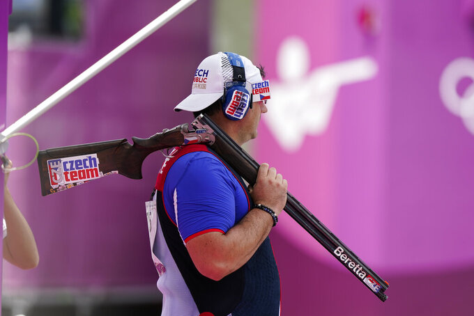 Jiri Liptak, of Czech Republic, competes in the men's trap at the Asaka Shooting Range in the 2020 Summer Olympics, Thursday, July 29, 2021, in Tokyo, Japan. (AP Photo/Alex Brandon)