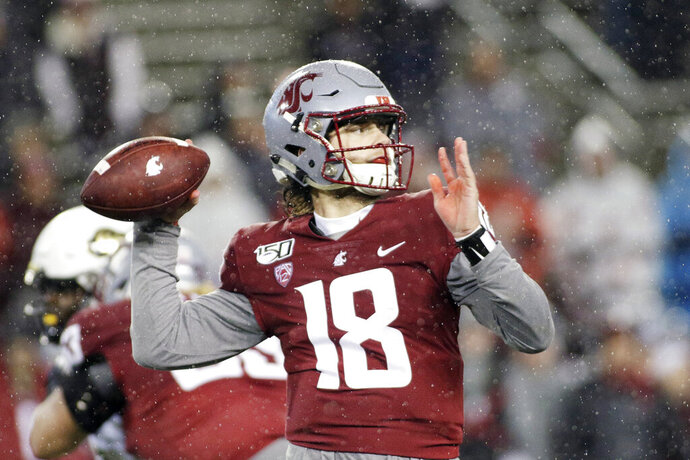 Washington State quarterback Anthony Gordon (18) throws a pass during the second half of an NCAA college football game against Colorado in Pullman, Wash., Saturday, Oct. 19, 2019. (AP Photo/Young Kwak)