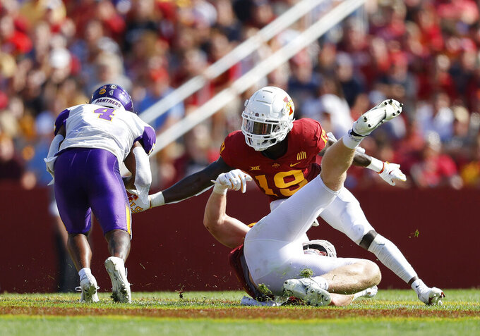 Northern Iowa wide receiver Quan Hampton (4) breaks free from Iowa State defensive back Kym-Mani King (19) for a touchdown during the first half of an NCAA college football game, Saturday, Sept. 4, 2021, in Ames, Iowa. Iowa State won 16-10. (AP Photo/Matthew Putney)