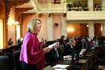 Ohio Rep. Allison Russo speaks to support an amendment preceding a vote on the Heartbeat Bill at the Ohio Statehouse in Columbus, Ohio on April 10, 2019. The House members voted in the controversial