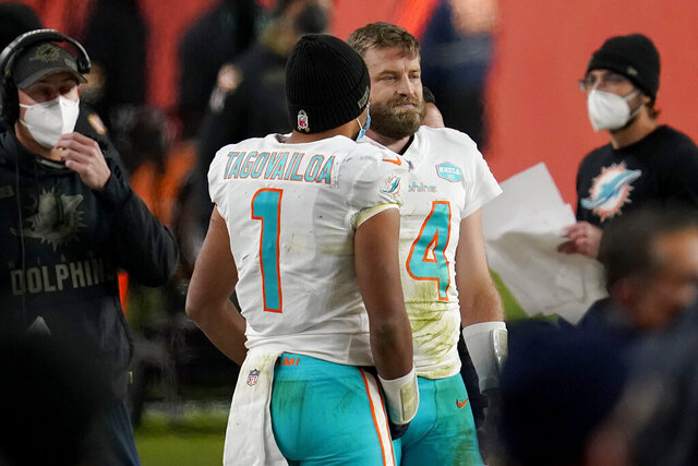 Miami Dolphins quarterback Tua Tagovailoa (1) talks with quarterback Ryan Fitzpatrick (14) during the final seconds of an NFL football game against the Denver Broncos, Sunday, Nov. 22, 2020, in Denver. The Broncos won 20-13. (AP Photo/David Zalubowski)