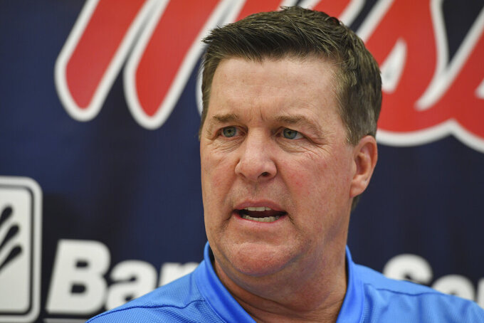 Mississippi defensive coordinator Mike MacIntyre speaks during Mississippi's Media Day at the Manning Center in Oxford, Miss. on Thursday, Aug. 1, 2019. Mississippi begins NCAA college football practice on Friday and opens the season against Memphis on Aug. 31, 2019.  (AP Photo/Thomas Graning)